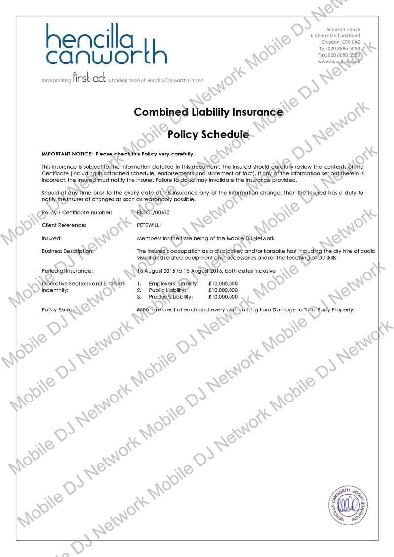 MDJN - Combined Liability Policy (2015) - abbr Page 01